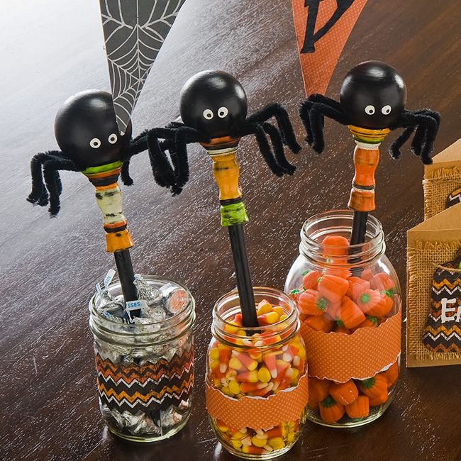 Spider Candy Jars created with FolkArt acrylics #crafts #halloween - halloween crafts ideas