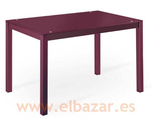 Mesa cocina cristal y estructura color berenjena   Comprar Ahora   El Bazar