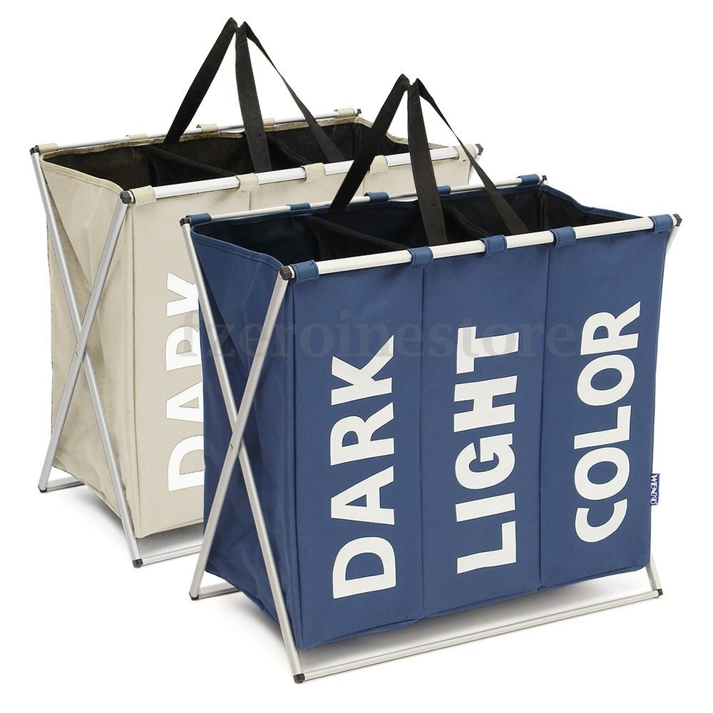 Large Laundry Sorter Entrancing Details About 3 Section Large Folding Laundry Hamper Organizer Design Decoration