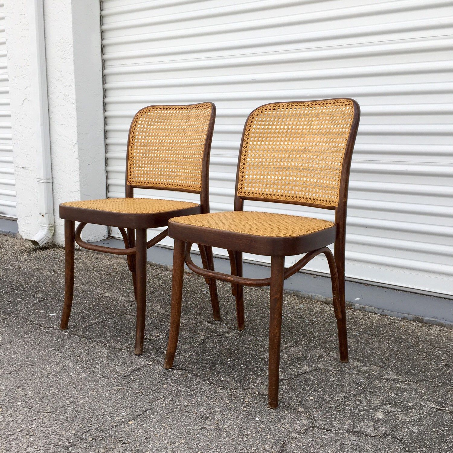 Vintage Bentwood Chairs - Pair of vintage josef hoffmann prague thonet bentwood and cane chairs made in poland