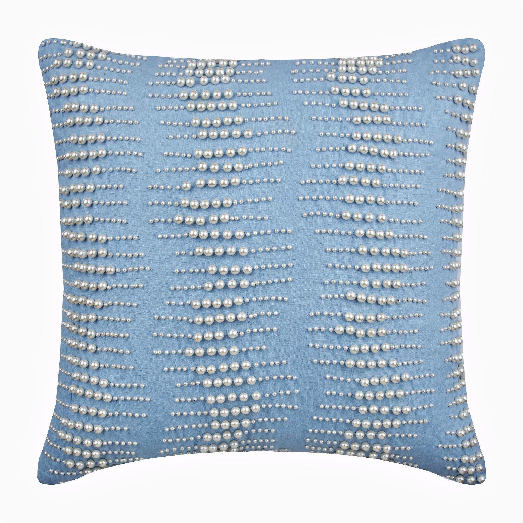 Light Blue Cotton Cushion Cover Pillow