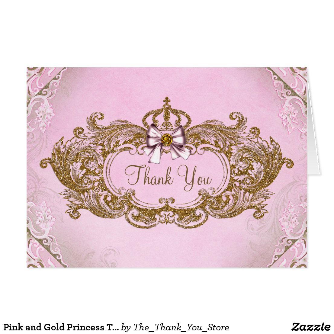 Pink and Gold Princess Thank You Card   Princess birthday and Birthdays