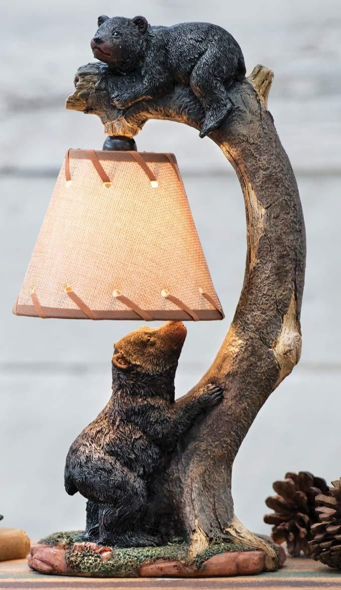 Ebros Whimsical 2 Playful Climbing Black Bears On Bending Tree Branch Table Lamp Statue with Hanging Burlap Shade 15.75High Wildlife Rustic Cabin Lodge Decor Forest Bear Family Desktop Bedside Lamps #pictureplacemeant