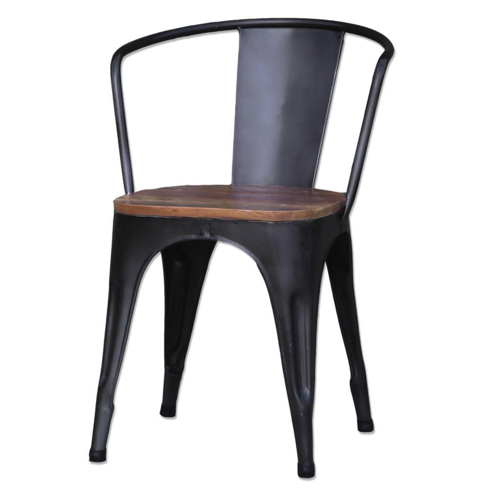 Design Stapelstuhl ARM schwarz Metall Küche Stuhl Konferenzstuhl ...
