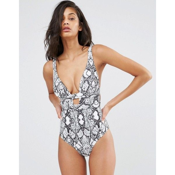 b5551c4120947 ASOS FULLER BUST Mono Snake Print Plunge Swimsuit DD-G ($43) ❤ liked on Polyvore  featuring swimwear, one-piece swimsuits, snake print, cut out one piece ...