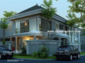 Desain Rumah 2 Lantai Modern Klasik Mediteran Dengan Kolam