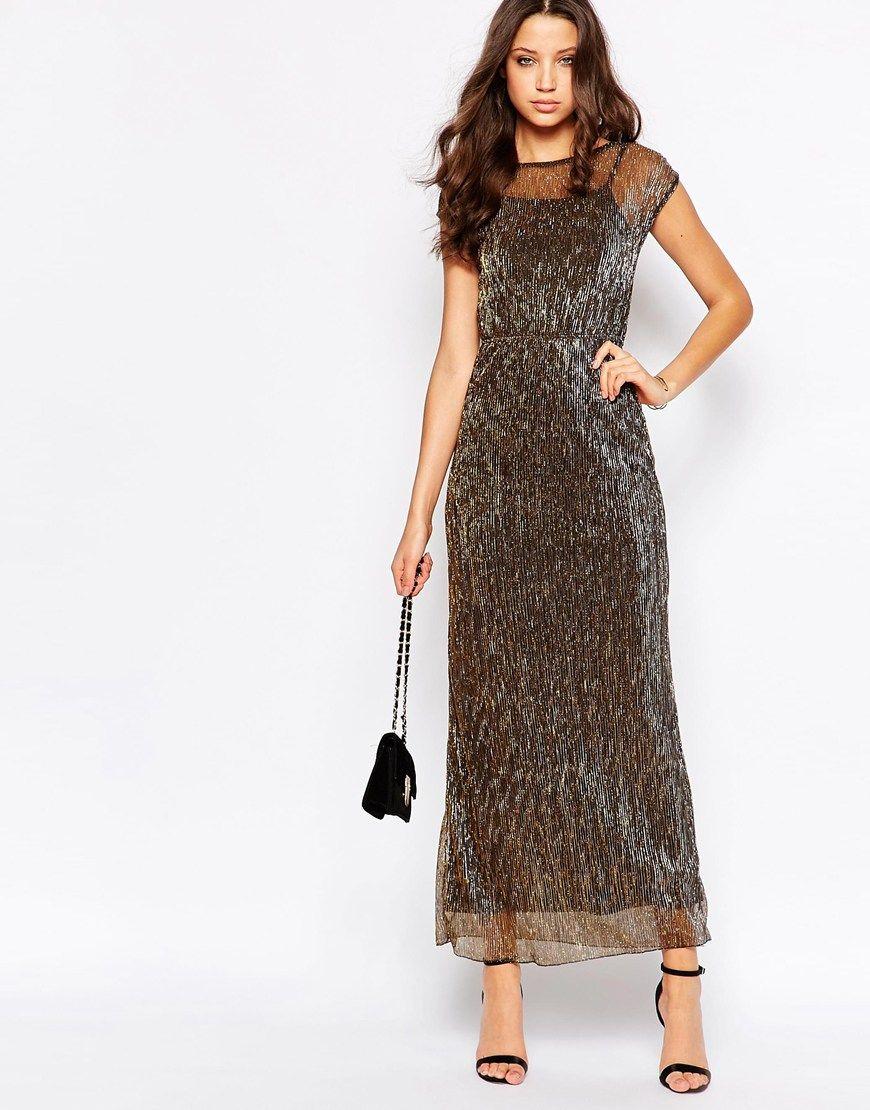 Vero Moda Tall Shimmer Maxi Dress At Asos Com [ 1110 x 870 Pixel ]