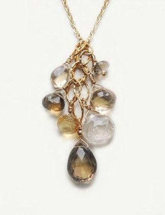 Rutilated quartz dangle necklace with peridot clusters