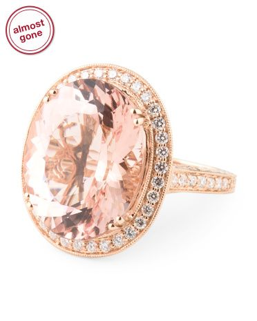 c88cd3031593 tjmaxx WOW! 18k Rose Gold Diamond And Morganite Ring - Rings - T.J. ...