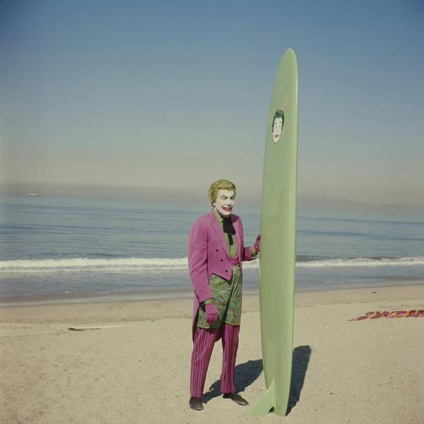 "Cesar Romero prior to filming his surfing scene with Adam West on ""Batman"", 1967."