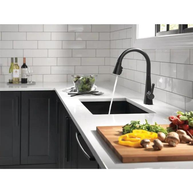 Delta Lenta Matte Black 1 Handle Deck Mount Pull Down Handle Kitchen Faucet Lowes Com Black Kitchen Countertops Modern Black Kitchen Matte Black Kitchen Faucet