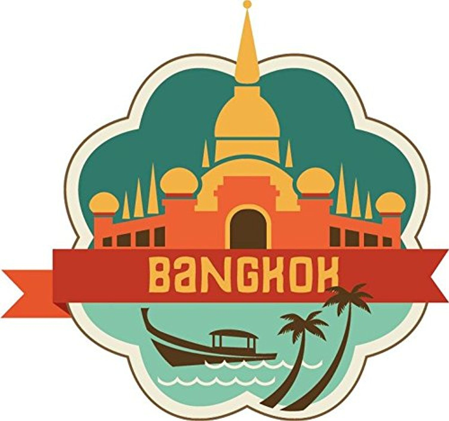 Bangkok thailand world city travel label badge sticker decal design 5 x 5 awesome products selected by anna churchill