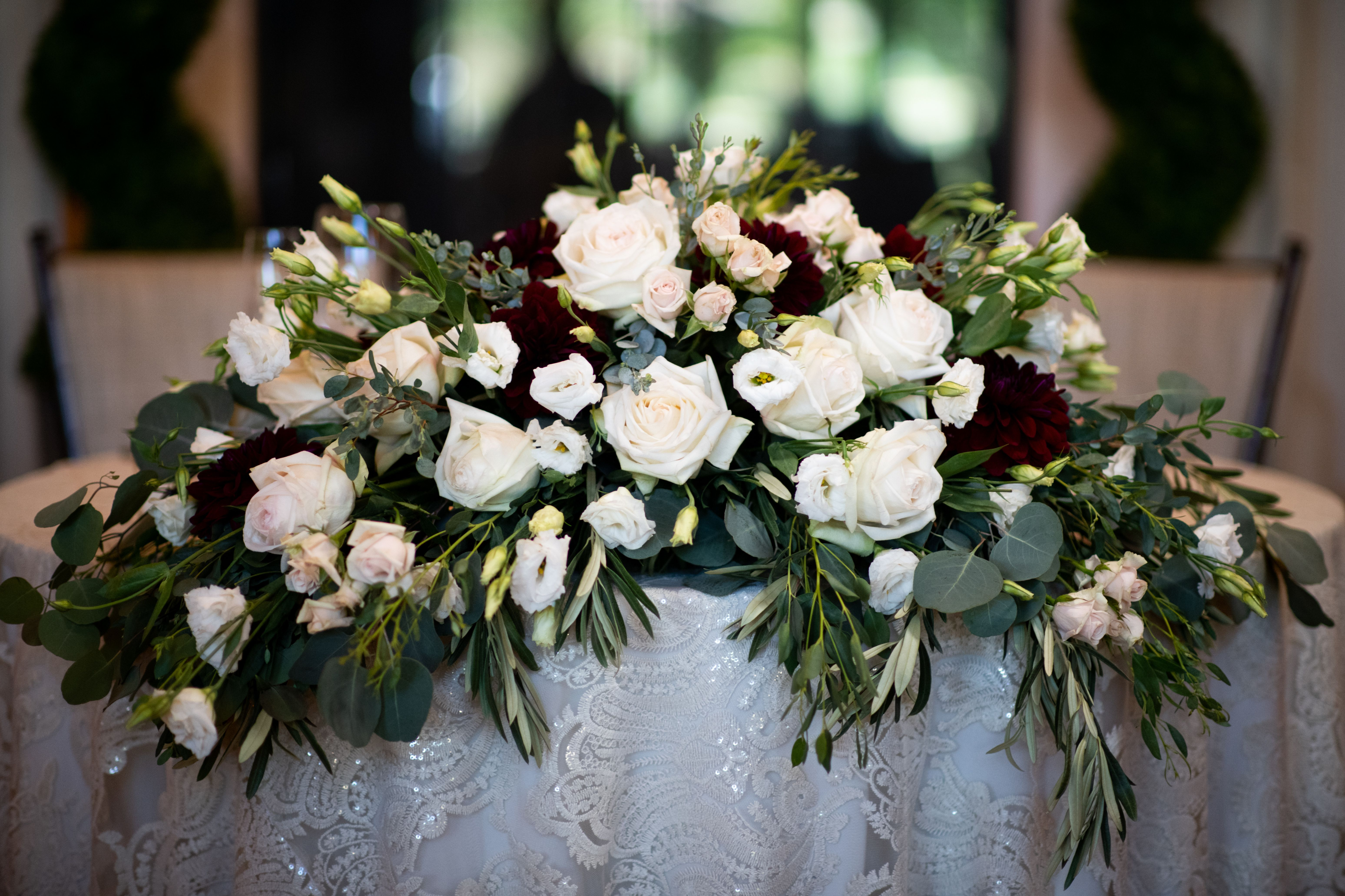 Long And Low Sweetheart Table Arrangement Sweetheart Table