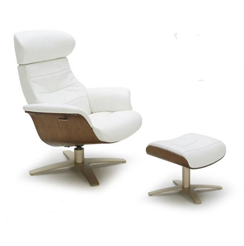 Vig Furniture VGKKA928-WHT Divani Casa Modern White Leather Reclining Chair With Ottoman | Outlety