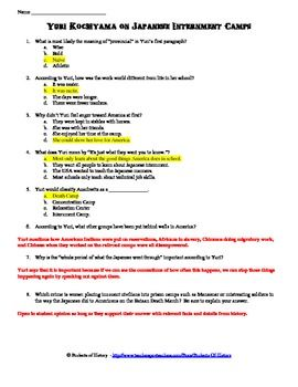 Japanese Internment Camps Primary Source Reading & Worksheet ...