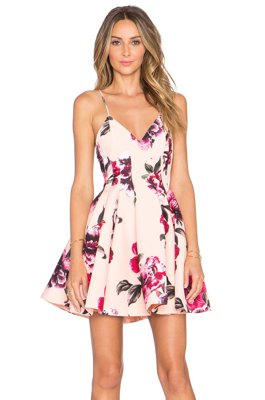 keepsake star crossed dress in painted bloom apricot at