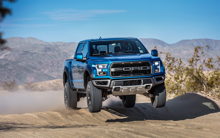 Download Wallpapers Ford F 150 Raptor 2019 Supercrew American Suv Pickup Truck Exterior New Blue F 150 Raptor Jumping On The Suv American Cars Ford Bes Ford Raptor Ford F150 Raptor Ford Rapter