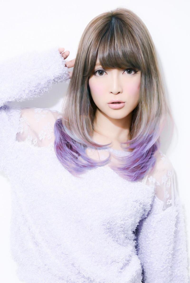 トリプルナパームボム 青みの紫 数色メッシュのグラデーション