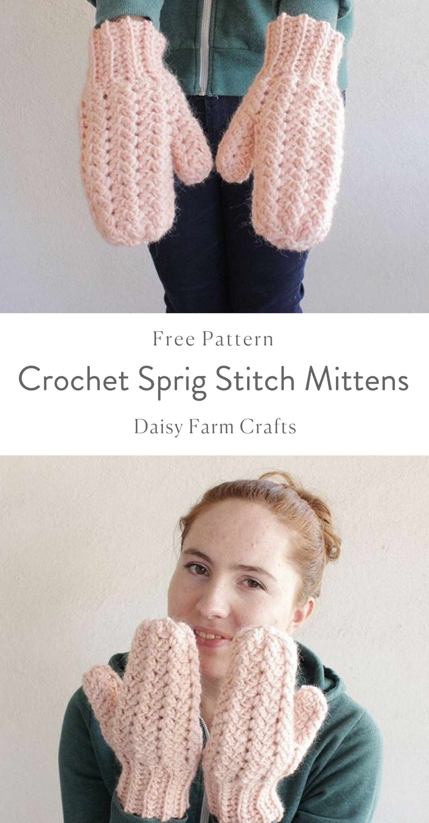 Crochet Sprig Stitch Mittens - Daisy Farm Crafts | Crochet ...