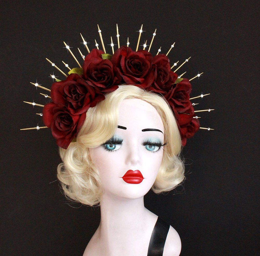 Dark Red Rose Flower Crown, Gold Halo Crown, Bridal Crown, Crown Headband,Day Of The Dead Headdress, Virgin Mary Costume, Festival Wear #crownheadband