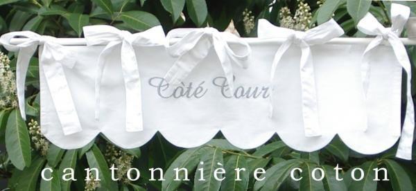 Cantonni re festonn e brodee en coton blanc cantonni res cantonni re rideaux rideau brod s - Rideau de cuisine au metre ...