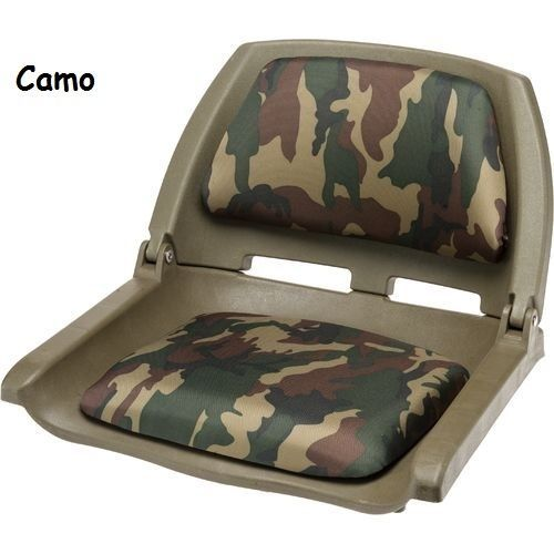 Boat Seats Fold Down Camo Padded Seat Bass Fishing Boats