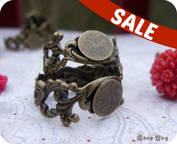 SALE 20 Filigree Ring Bases   Large by ShopDogCraftSupplies, $3.00