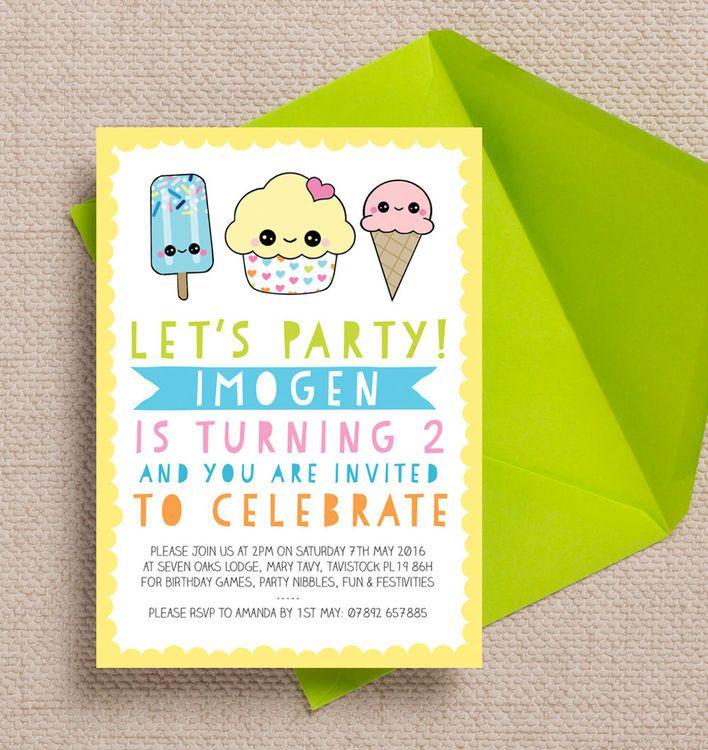 Kawaii Cute Cupcake Personalised Kids Birthday Party Invitation. DIY ...