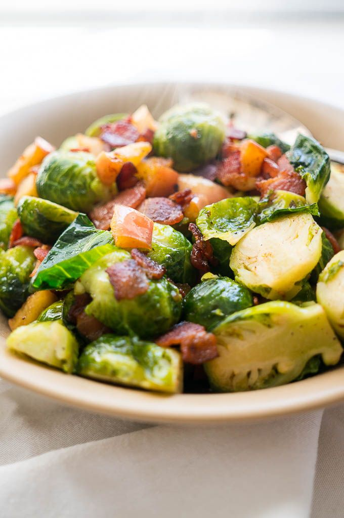 Brussels Sprouts with Crispy Bacon and Apples Recipe