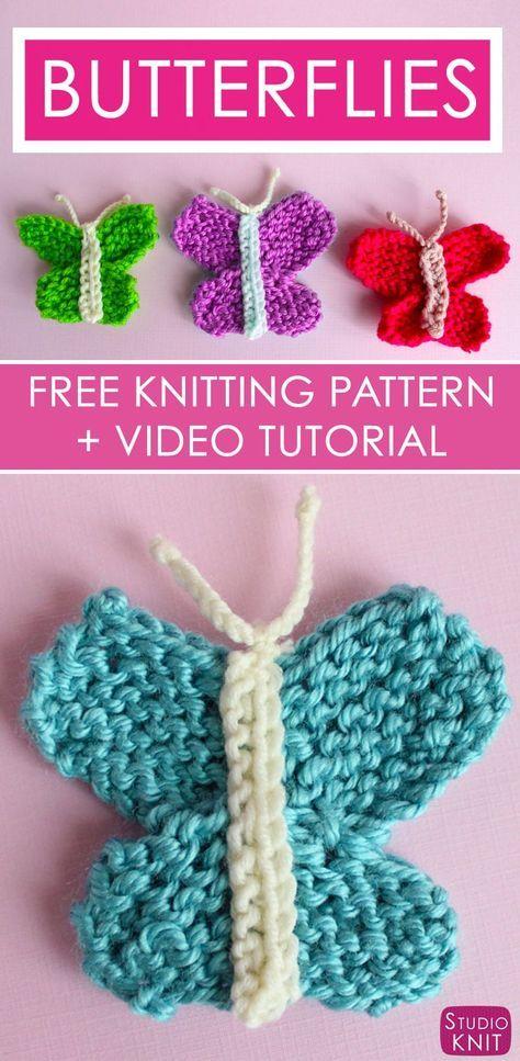 Photo of Butterfly Strikkeoppskrift med enkelt gratis mønster + video