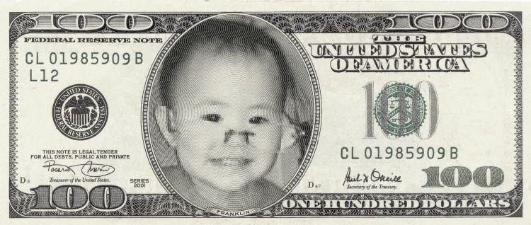 U S  $100 Jinian Chao(little)   Fun baby   100 dollar bill