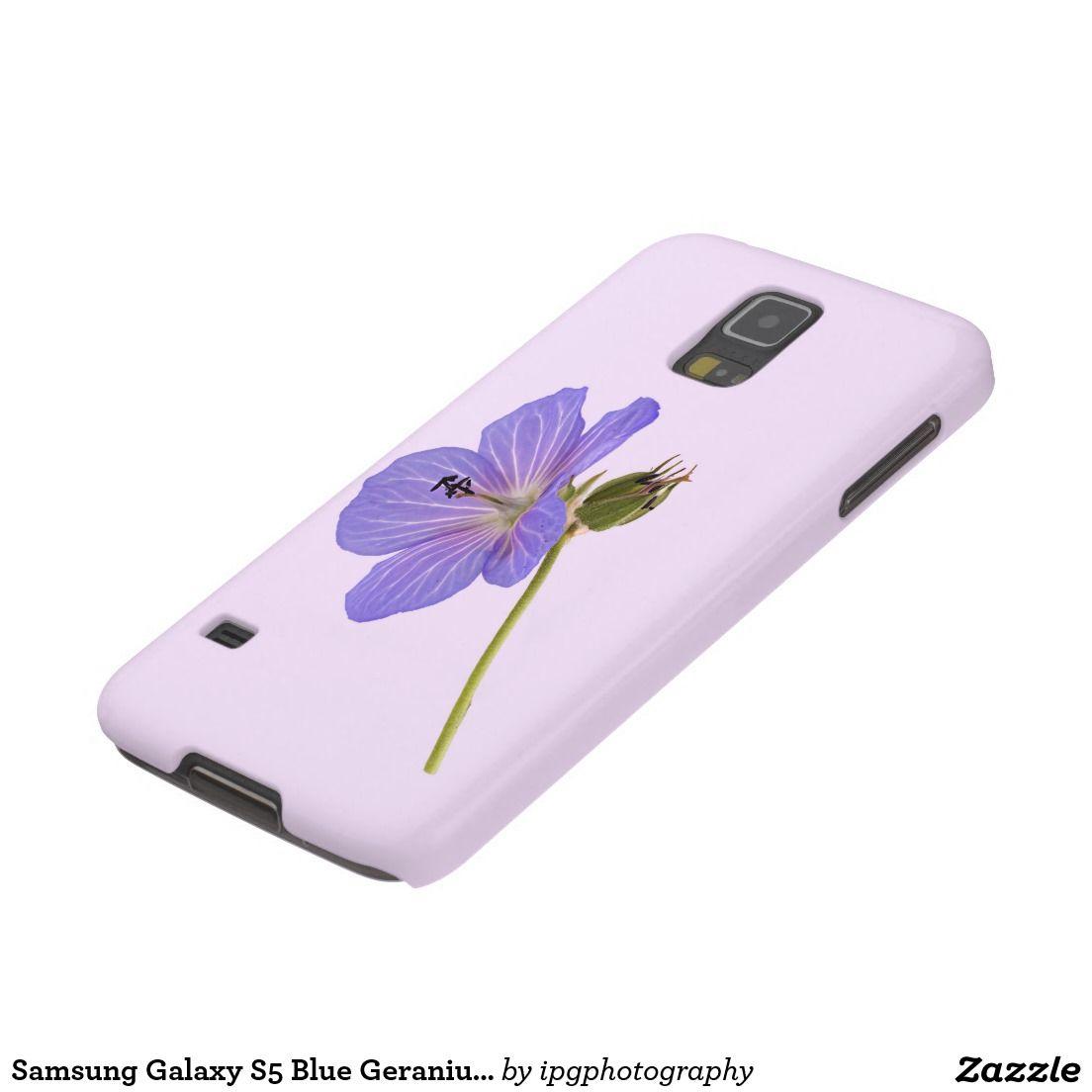 Samsung Galaxy S5 Blue Geranium - Mauve Background Cases For Galaxy S5