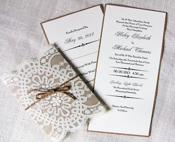 Spitze Hochzeitskarten Jute Hochzeitsdeko Und Einladungskarten