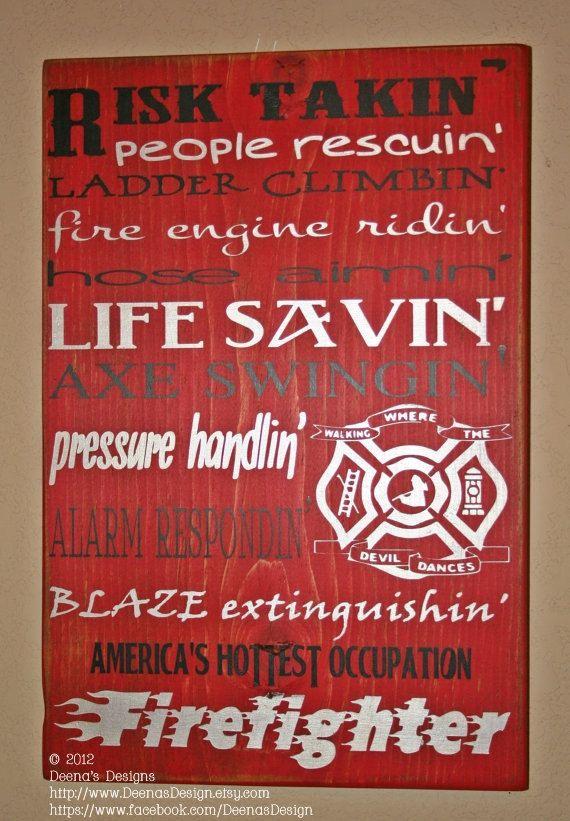 Firefighter Wall Art Decor Distressed By Deenasdesign Rhpinterest: Fireman Home Decor At Home Improvement Advice