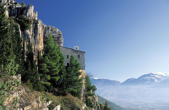 Hermitage of Pope Celestine V.  S. Onofrio al Morrone Hermitage  Abruzzo region (central Italy).  The Hermitage, founded in the 13th century by Pietro Angelerio, who became then Pope with the name of Celestine V.