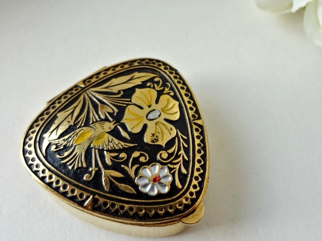 Trinket Box Damascene Flower Design Metal Jewelry Box Small