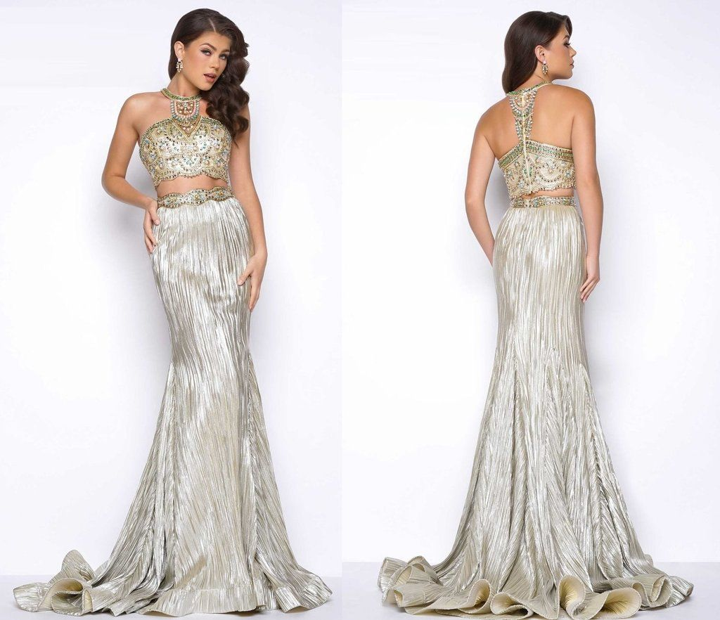 Her stylish halter shimmering beaded twopiece gown fashion fix