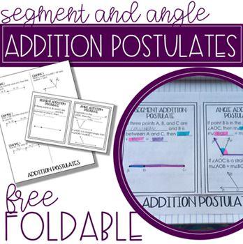 Segment Addition and Angle Addition Postulate Foldable ...