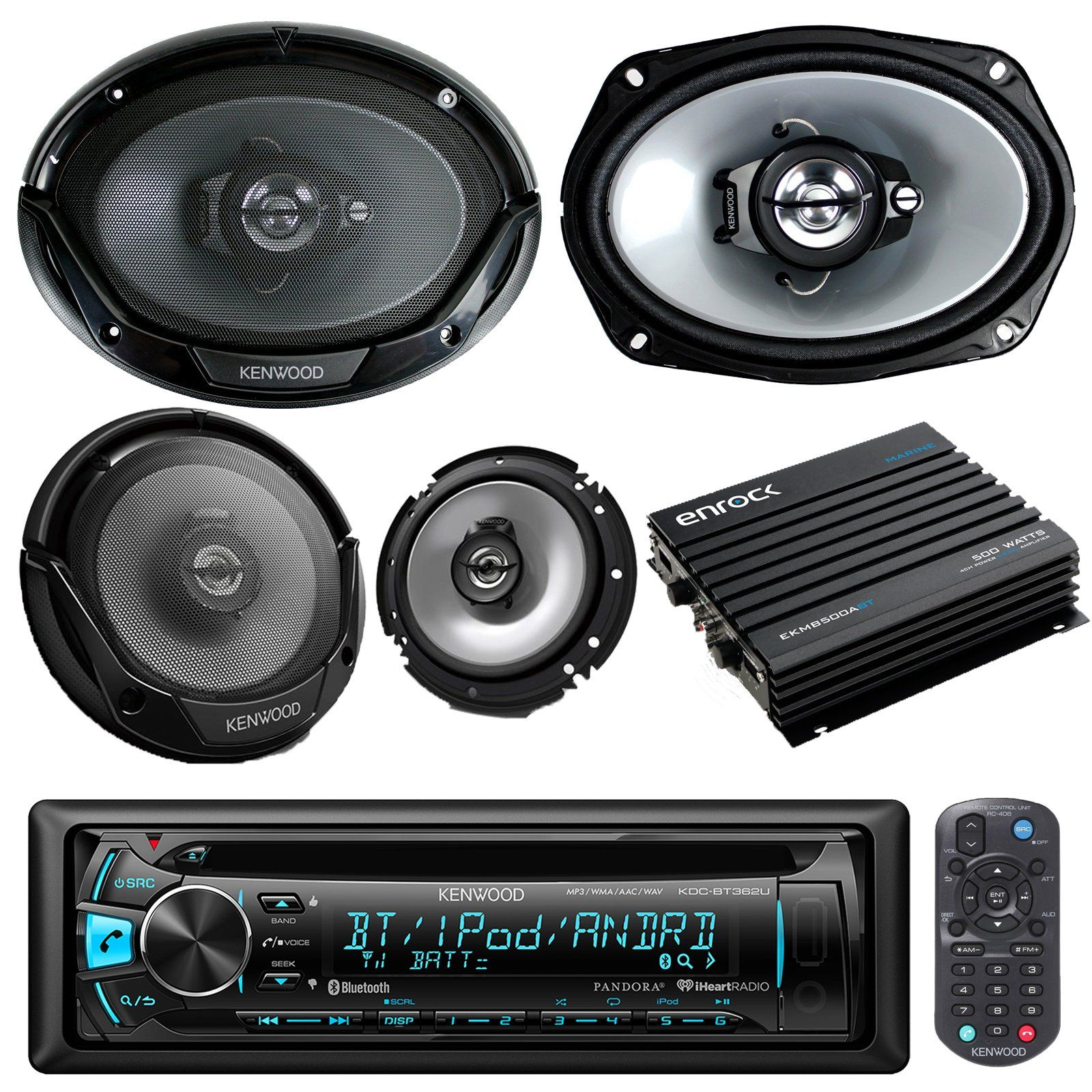 Kenwood KMMBT315U Car Receiver Bluetooth AM/FM Radio With 2 6x9 Inch And 2 6.5 Inch Speakers