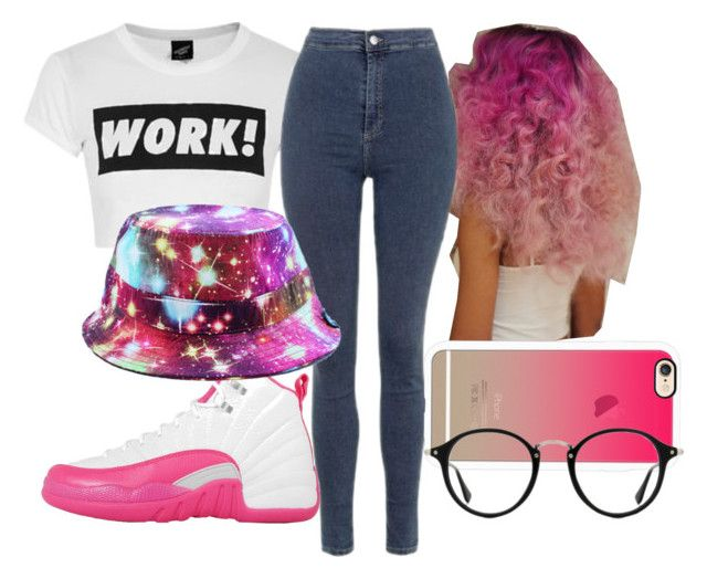 """""""Work!"""" by hcps-djeukendj ❤ liked on Polyvore featuring Topshop, NIKE, Casetify, RADisRAD, Ray-Ban, Trendy and spring2016"""