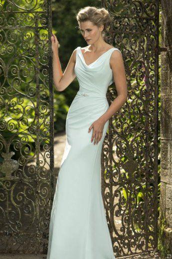 3c04e1224c747 Cowl Neck Sheath Long Chiffon Mint Blue LOng Bridesmaid Dress with Crystal  Ribbon