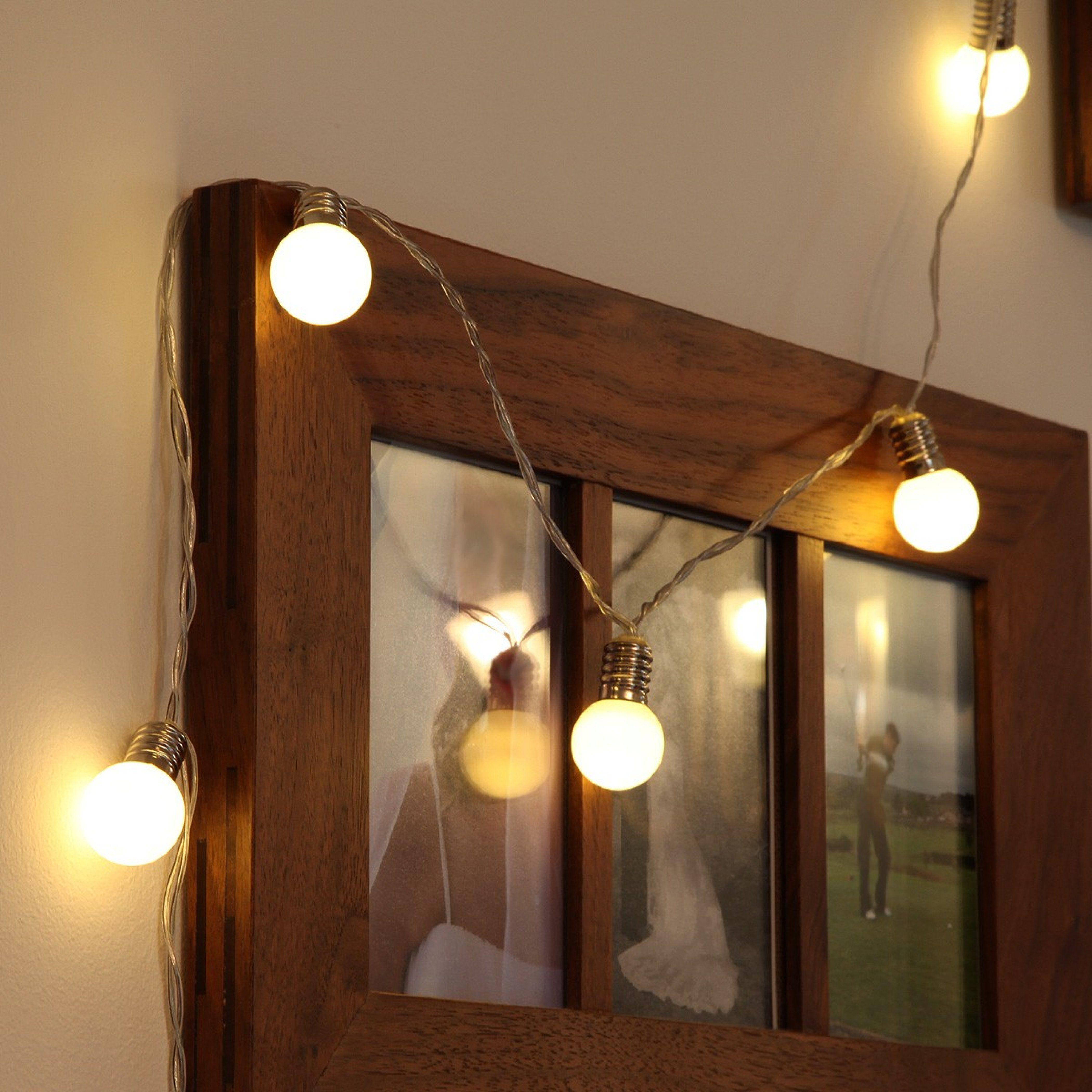 Battery Frosted Mini Festoon Bulb Fairy Lights 10 Warm White Leds Party Lichterkette Lichtergirlande Lichterkette