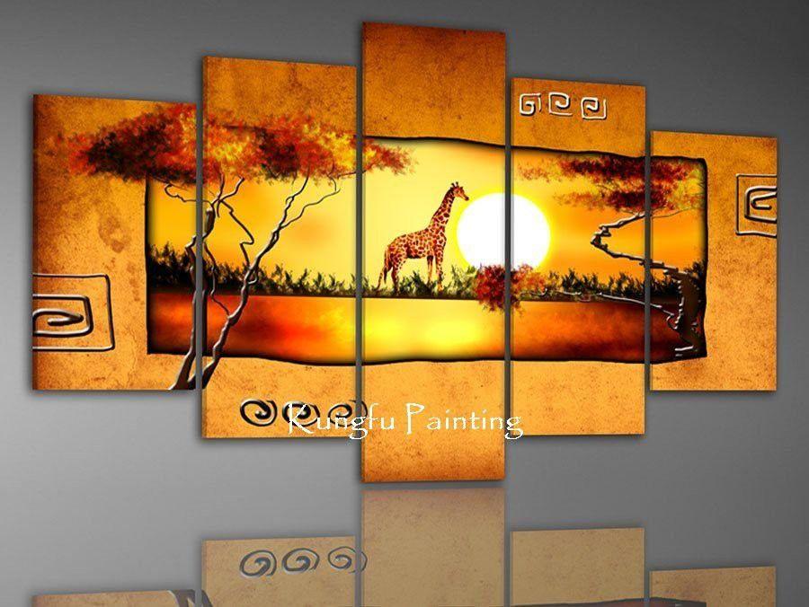 100% hand painted discount african canvas art framed wall art ...