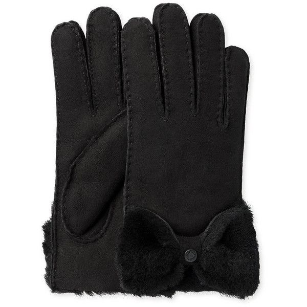 UGG® Women's Sheepskin Bow Gloves - Black ($140) ❤ liked on Polyvore  featuring