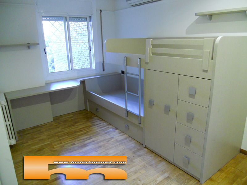 habitacion juvenil a medida cama tren barcelona camas