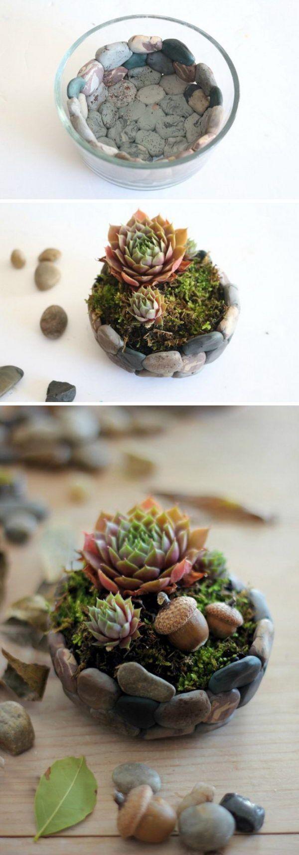 Imitat-Stein-saftiger Pflanzer. Wir möchten uns bei Ihnen bedanken wenn Sie die #steingartenideen