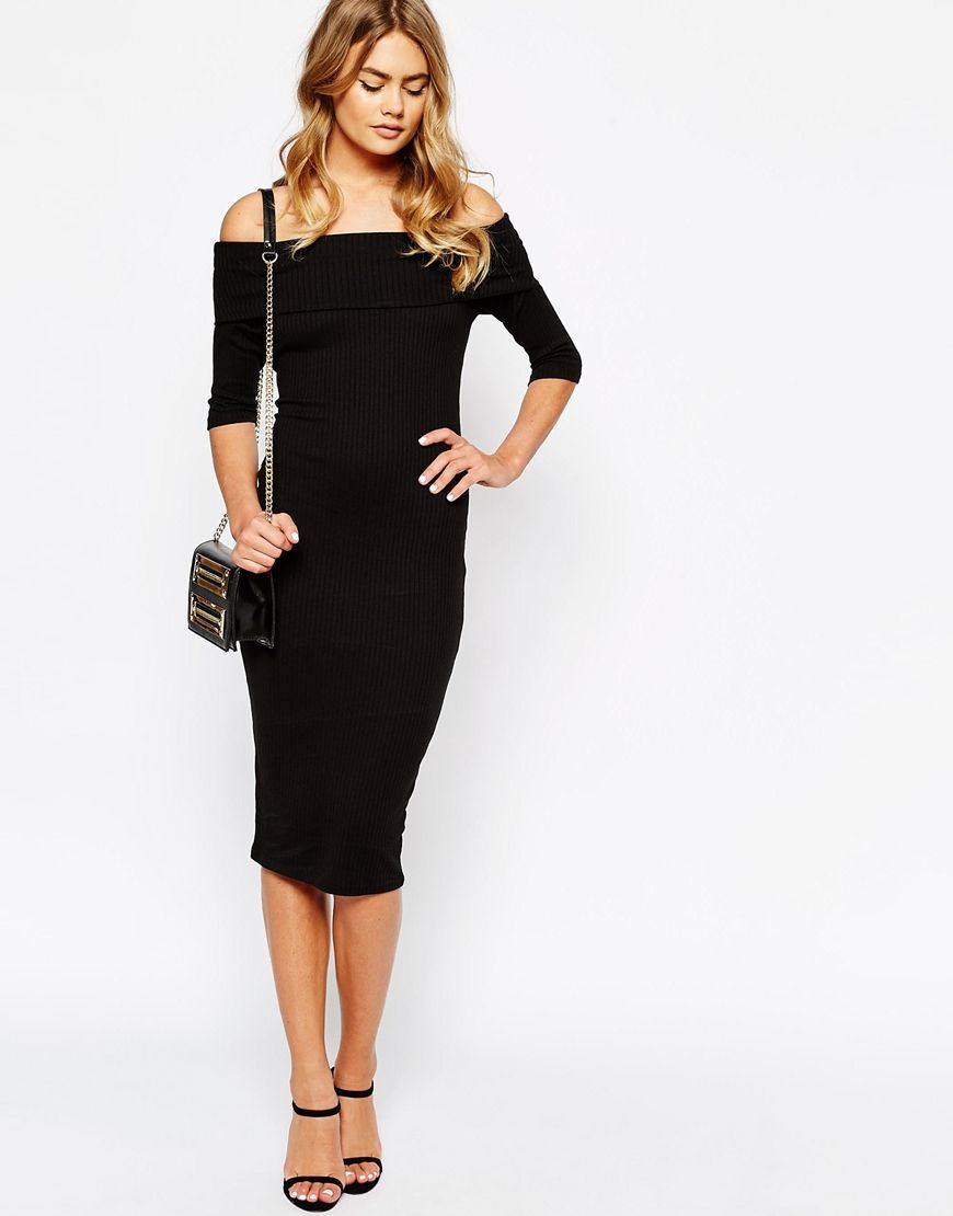 56365efb42 Image 4 of River Island Off The Shoulder Ribbed Bodycon Dress ...