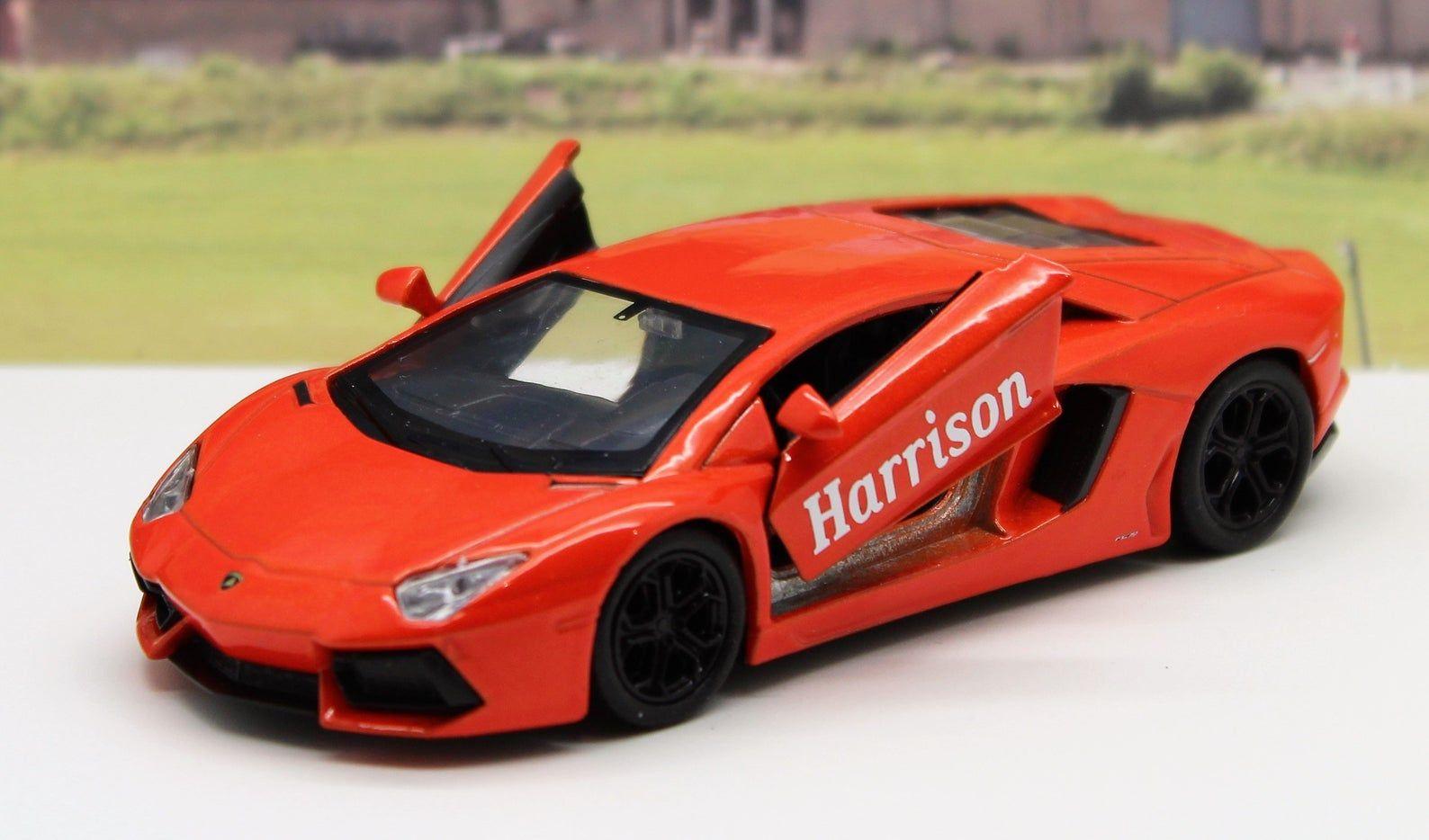 PERSONALISED PLATES Lamborghini Diecast Model Boys Dad Toy Car Present Boxed