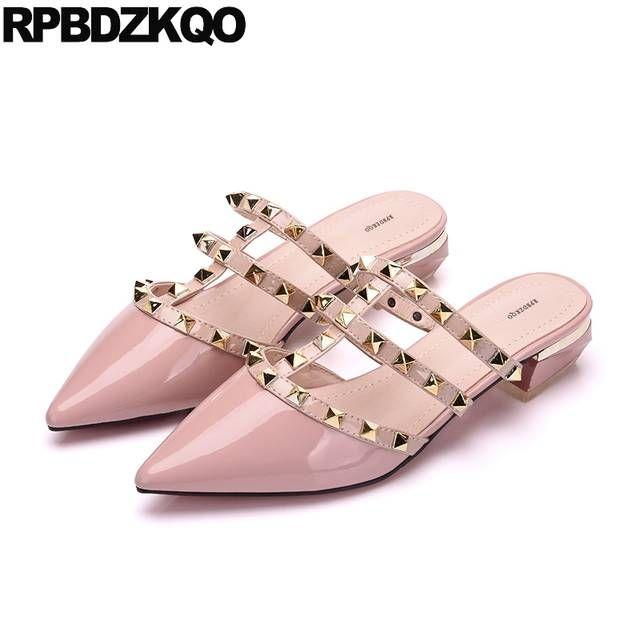 042eccff19 Leather Women Mules Summer 2018 Pink Runway Studded Plain Shoes ...