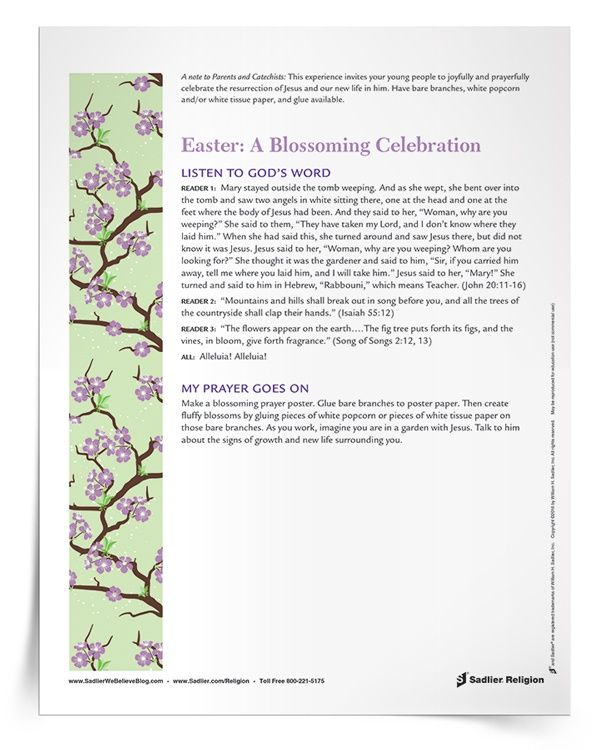 The Easter: A Blossoming Celebration Prayer Service and Activity is ...